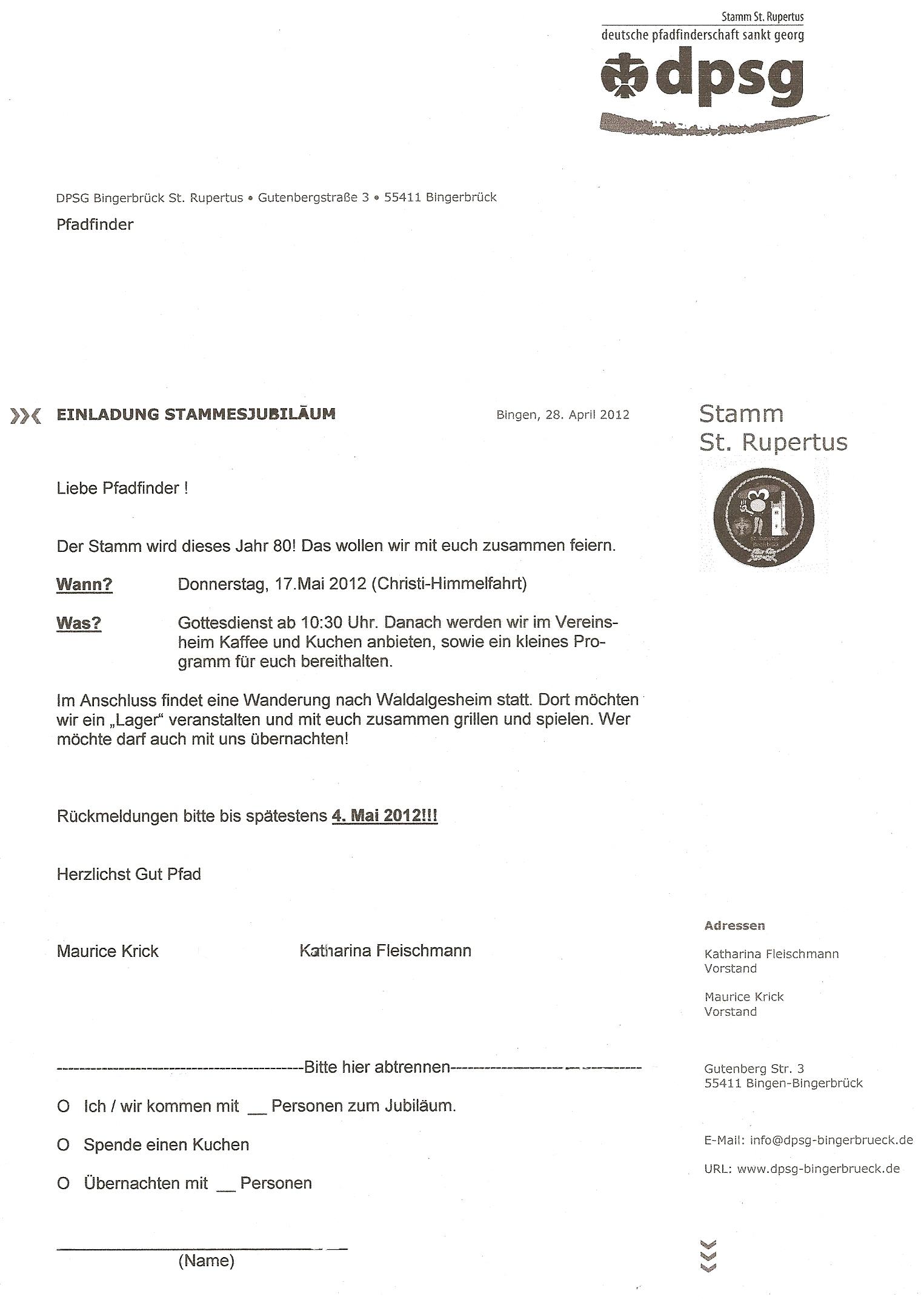 einladung zur 80-jahres-feier | pfadfinder stamm st. rupertus, Einladung